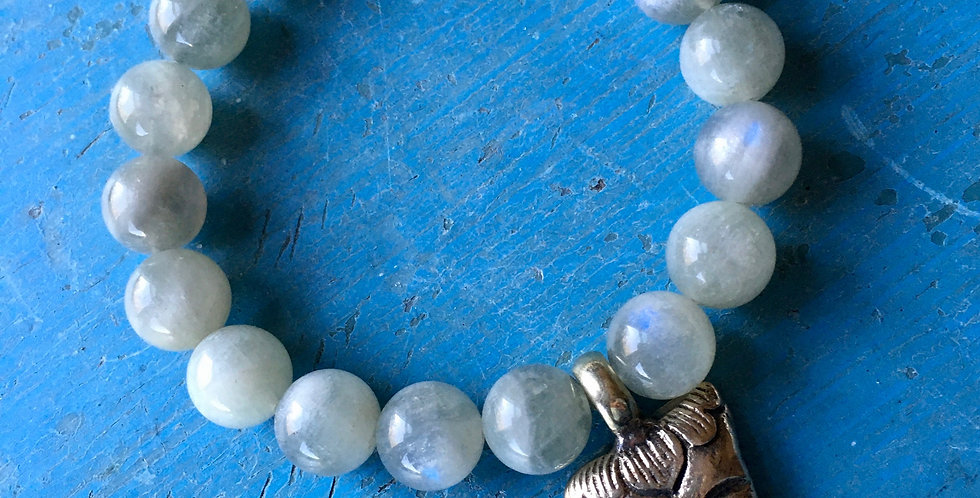 Rare Green Moonstone + Buddha | Beaded Gemstone  |Stacking Stretch Yoga Bracelet