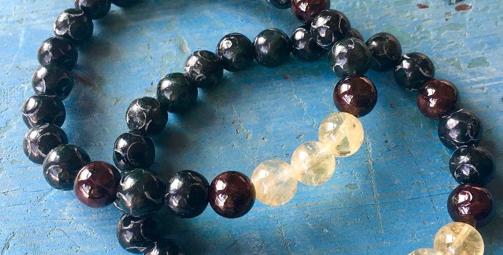 Citrine + Garnet + Etched Black Jade  | Stacking Stretch Beaded Bracelet