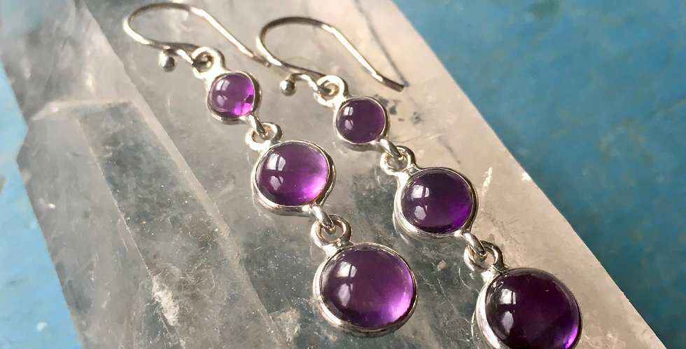 Amethyst   925 Sterling Silver Drop Earrings on French Wire