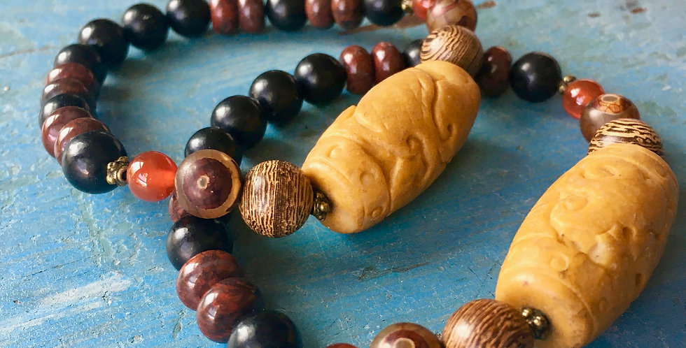 Jade + Tibetan Agate + Jet +Jasper   Stacking Stretch Beaded Bracelet