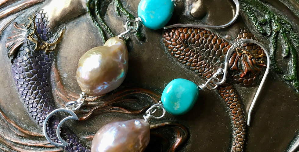 Campitos Turquoise and Edison Pearl Beaded Dangle Earrings with Sterling Crescent Moon Charm