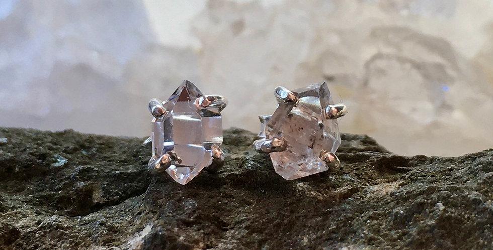 Dainty Herkimer Diamond Studs  | Quartz | 925 Sterling Silver Earrings