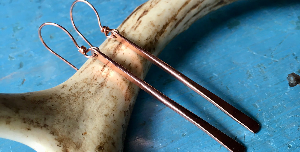 Elegant Simple forged Copper Wire Earrings with Copper Ear Wires photographed with a found antler