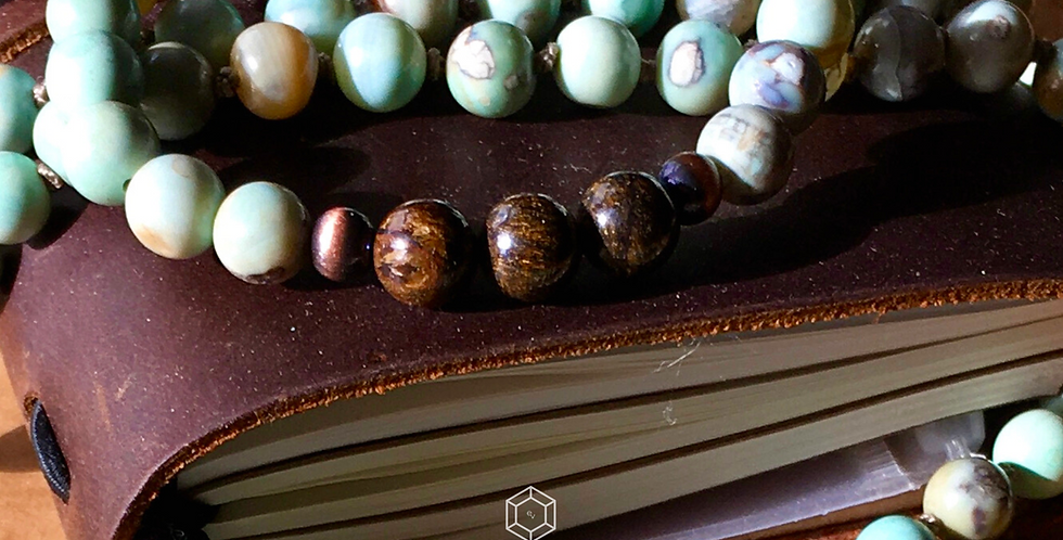 Beaded Stacking Yoga Bracelet in teal Fire Agate and Bronzite Gemstones
