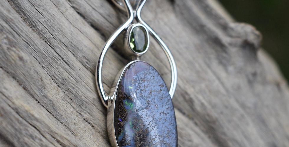 Boulder Opal - Australian & Peridot 925 Sterling Silver Pendant Necklace