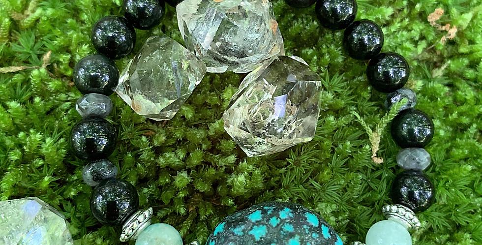 Stacking Stretch Bracelet | Turquoise, Amazonite, Larvikite, Black Moonstone