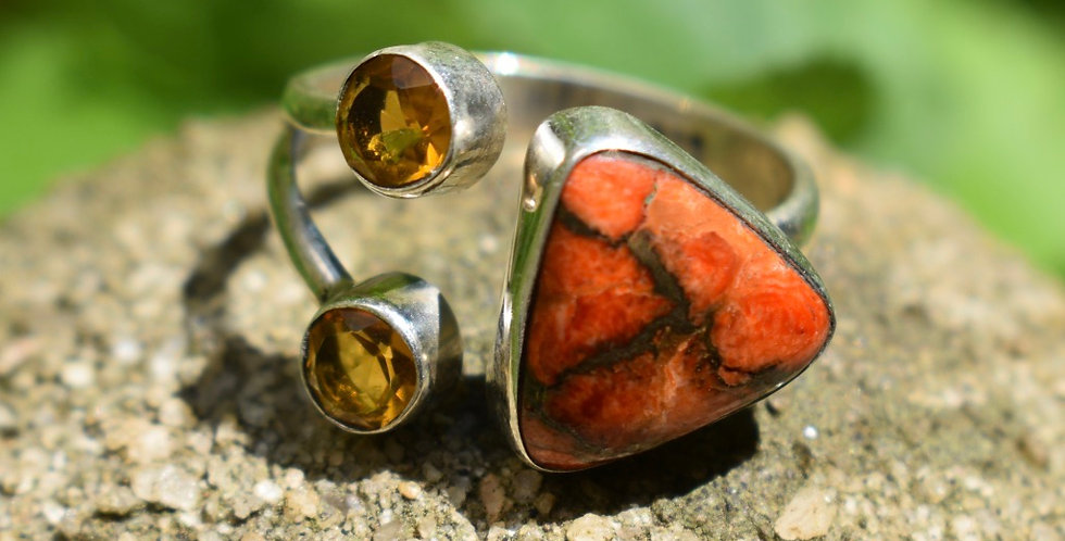 Copper Coral Turquoise & Golden Citrine 925 Sterling Silver Ring Size 9