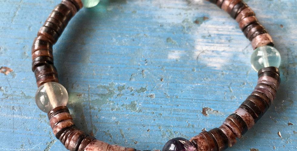 Shell + Fluorite | Beaded Gemstone  | Stacking Stretch Yoga Bracelet