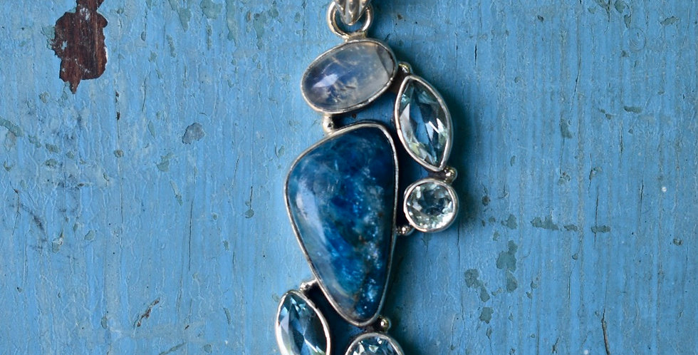 Apatite, Blue Topaz & Moonstone 925 Sterling Silver Pendant Necklace