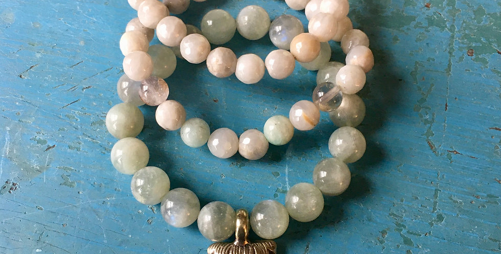 Green Moonstone + Buddha Charm + Silver Agate | Stacking Stretch Yoga Bracelet