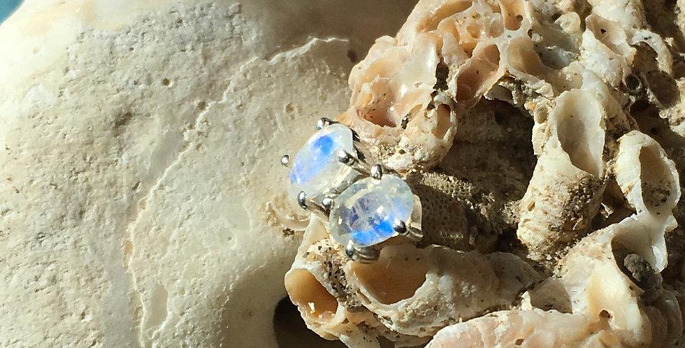 Faceted Moonstone | 925 Sterling Silver Stud Earrings