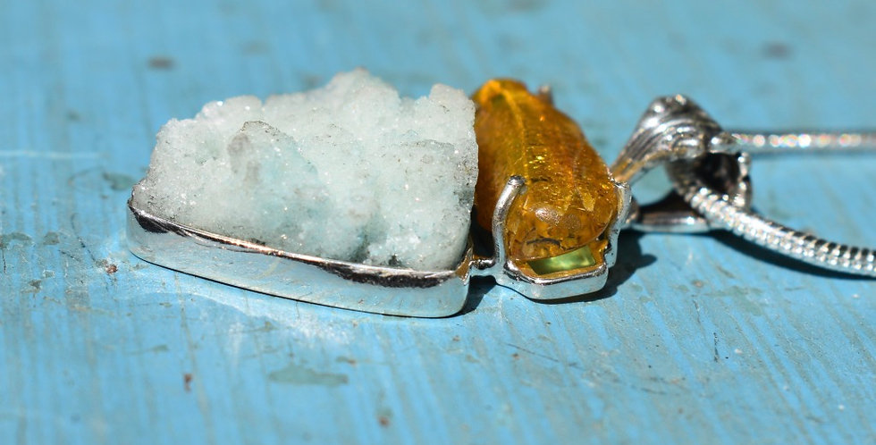 Hemimorphite & Baltic Amber | 925 Sterling Silver | Pendant Necklace