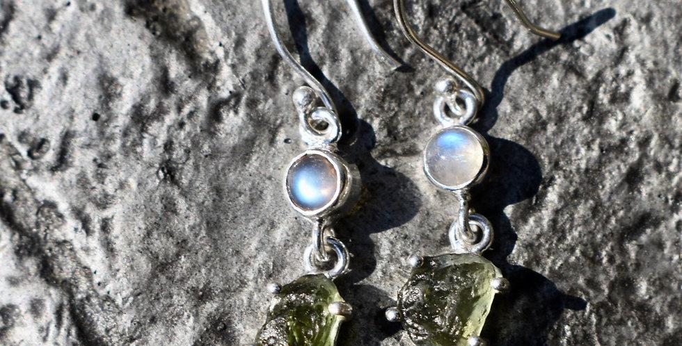 Czech Moldavite & Rainbow Moonstone   925 Sterling Silver   Earrings