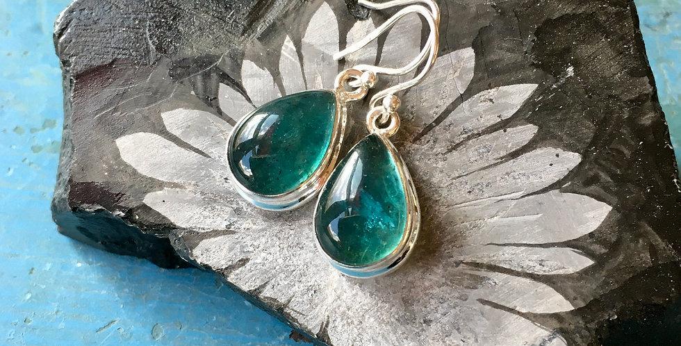Blue Fluorite   925 Sterling Silver Earrings on French Wire