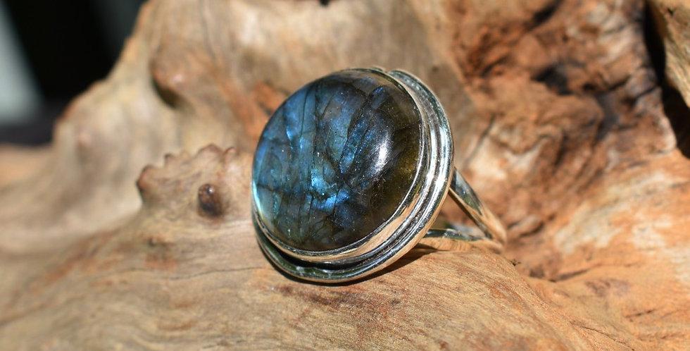 Large Labradorite 925 Sterling Silver Ring Size 9.25