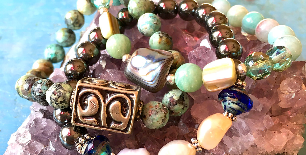 Beaded Bracelet Set with Turquoise Pearl Amazonite and other beads on stretch cord