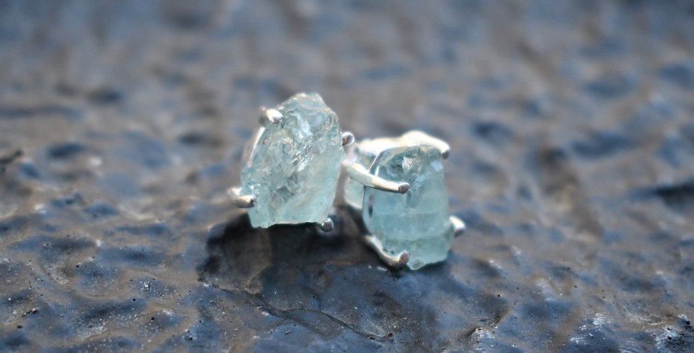 Aquamarine (Rough) | 925 Sterling Silver | Stud Earrings