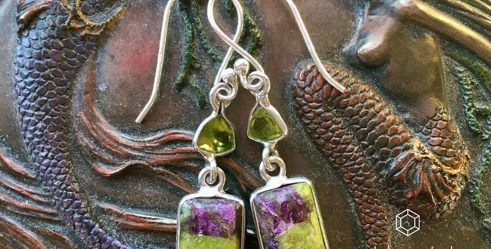 Atlantisite + Peridot | 925 Sterling Silver Dangle Drop Earrings