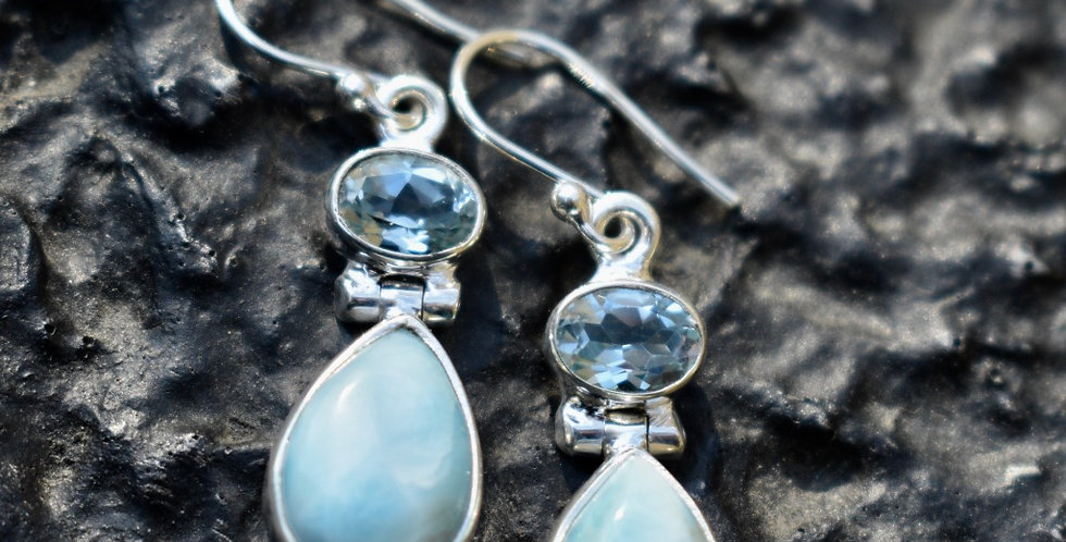 Larimar & Blue Topaz | 925 Sterling Silver | Earrings