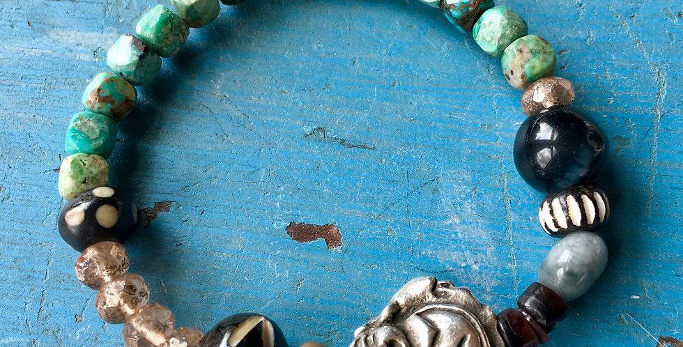 Buddha + Turquoise | Beaded Gemstone  | Stacking Stretch Yoga Bracelet