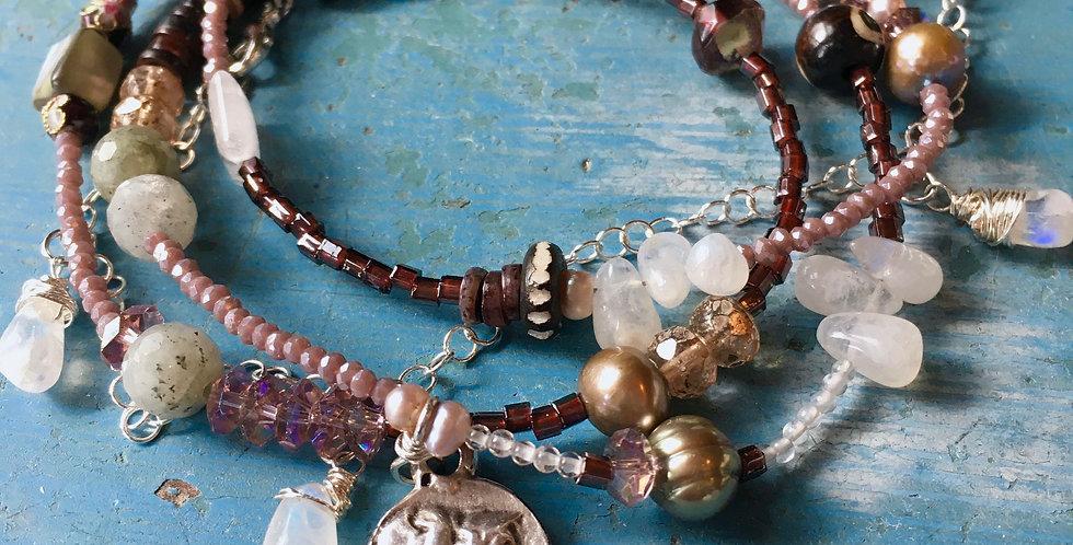 Moonstone + Pearl + Abalone +Labradorite + Cloisonné  | Wrap Bracelet Necklace