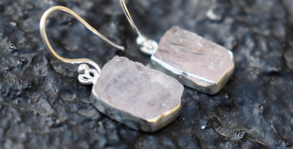 Morganite (Rough) | 925 Sterling Silver | Earrings
