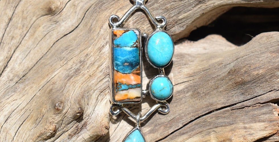 Spiny Oyster & Sleeping Beauty Turquoise 925 Sterling Silver Pendant Necklace