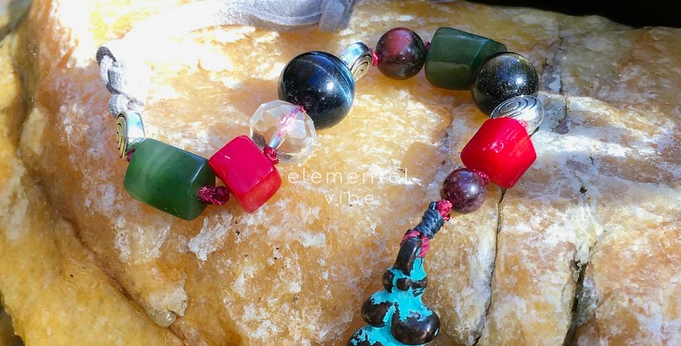 Root & Sacral Chakra Support  | Goddess Charm | Beaded Crystal Gemstone Fob