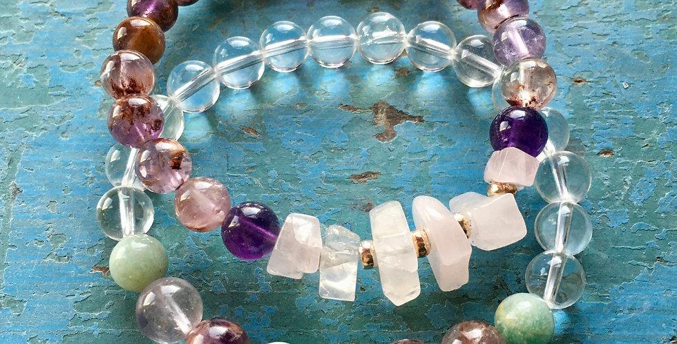 Rose Quartz + Super 7 + Amethyst +Amazonite   Beaded Stretch Bracelet Yoga