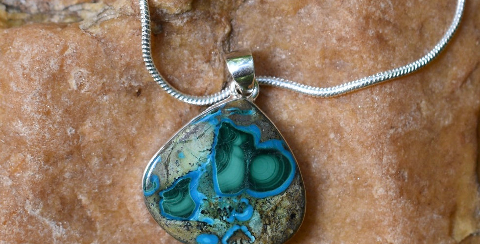 Malachite in Chrysocolla 925 Sterling Silver Pendant Necklace