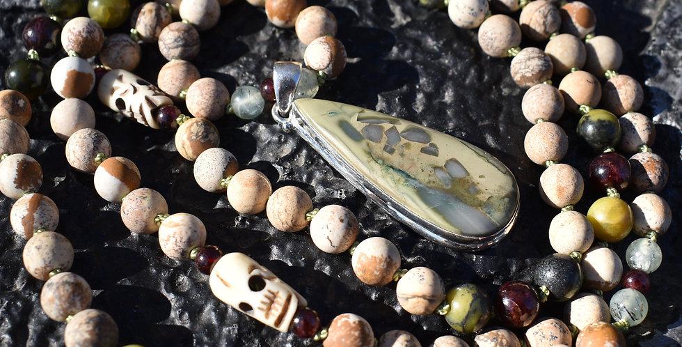 Picture & Imperial Jasper | 108 Bead Mala | Jade, Garnet, Tibetan Skull Beads