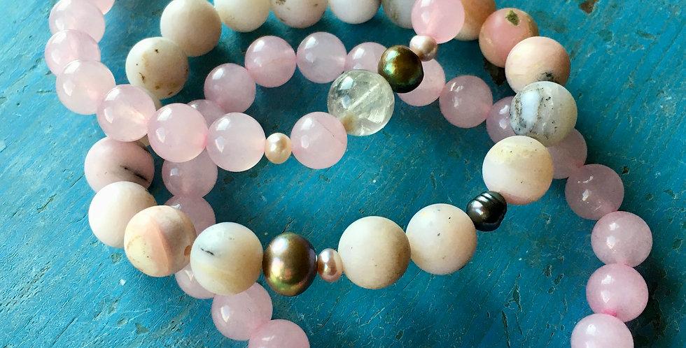 Pink Opal + Rose Quartz + Pearl  | Stacking Stretch Yoga Boho Bracelets