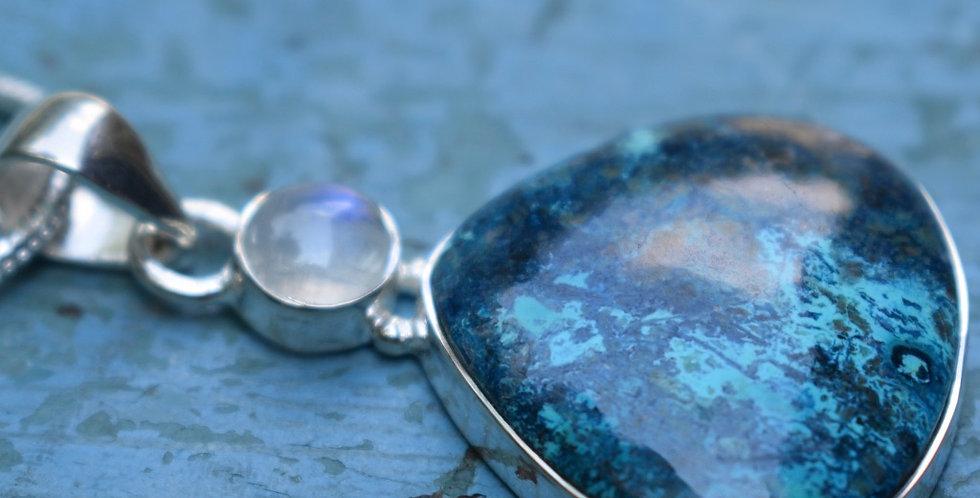 Shattuckite & Rainbow Moonstone 925 Sterling Silver Pendant Necklace