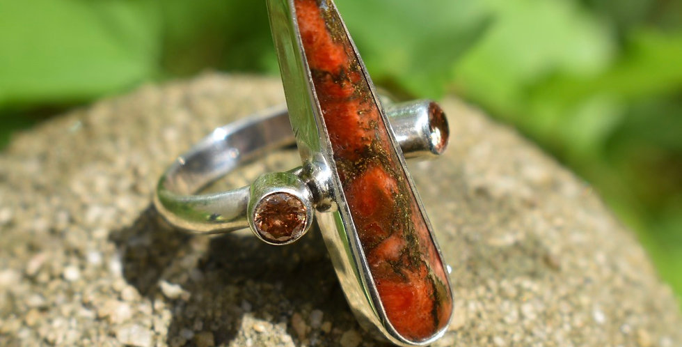 Copper Coral Turquoise & Padparadsha Sapphire 925 Sterling Silver Ring Size 7
