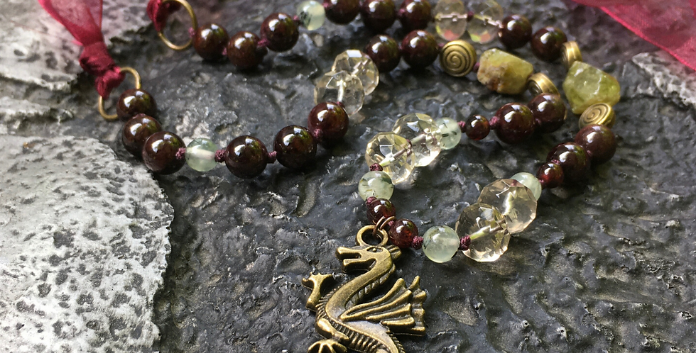 Red Dragon Goddess | Garnet, Prehnite, Smoky Quartz | Crystal Beaded Necklace