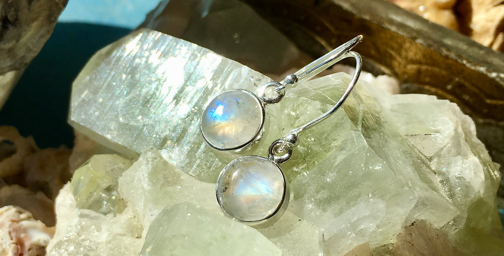 Rainbow Moonstone   925 Sterling Silver Earrings