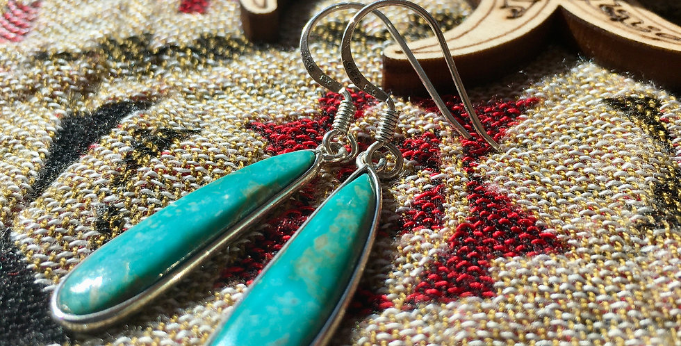 Nevada Turquoise   925 Sterling Silver Earrings