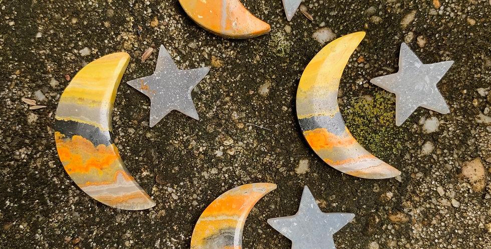 Bumblebee Jasper Crescent Moon & Druzy Star Combo