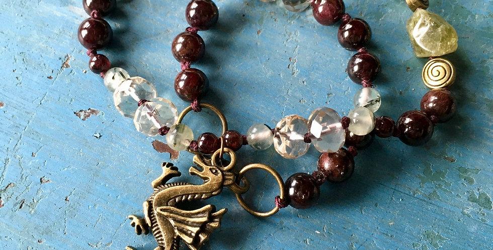 Red Dragon Goddess | Garnet, Prehnite, Smoky Quartz | Wrap Bracelet or Necklace