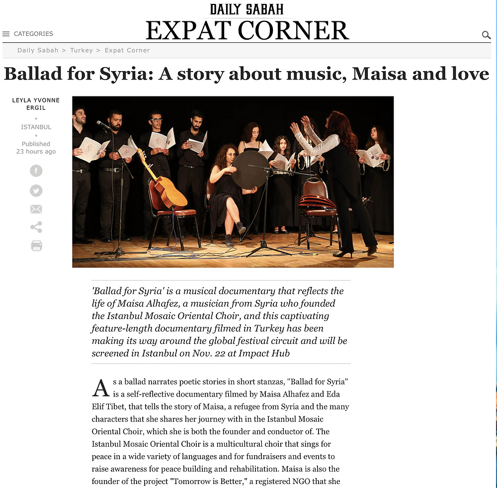 Ballad for Syria on Daily Sabah