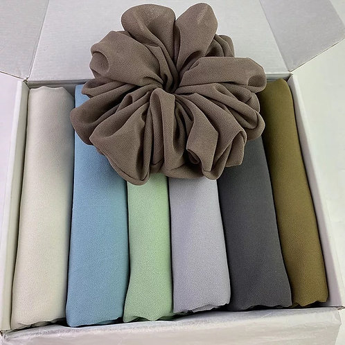 Maryam's Diamond Style Plain 6 pieces Chiffon Hijabs & Scrunchie Collection Set