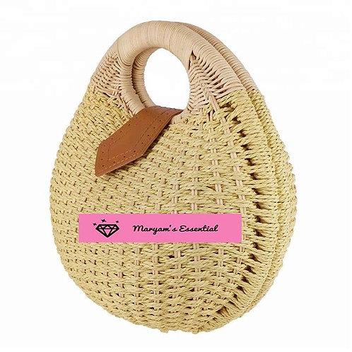 Maryam's Diamond Style Designer Bali Rattan Straw Round Woven Summer Beach Bag