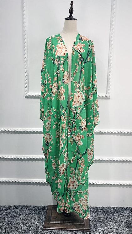 Maryam's Diamond Style Floral Print Blossom Asymmetrical Abaya