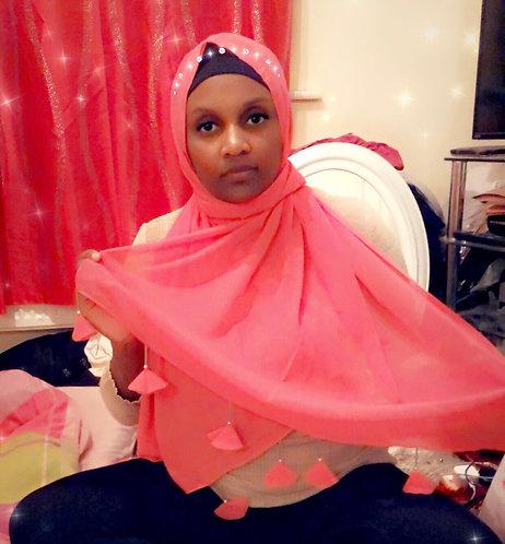 Maryam's Diamond Style Plain Chiffon with Tassels Pearls Hijab