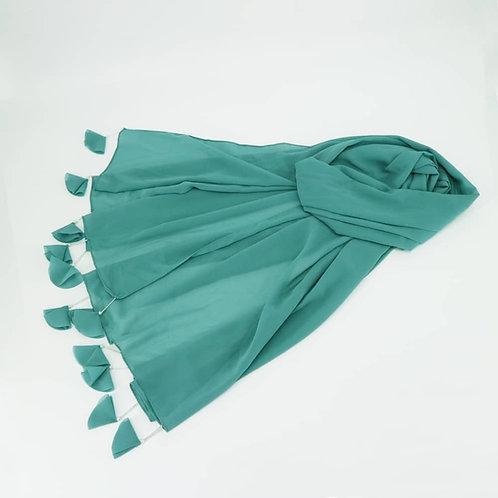 Maryam's Diamond Style Signiture Plain Chiffon with Tassels Pearls Hijab