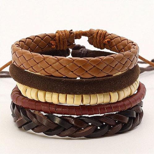 Maryam's Diamond Style Latest 4Pcs Charm Leather Bracelets
