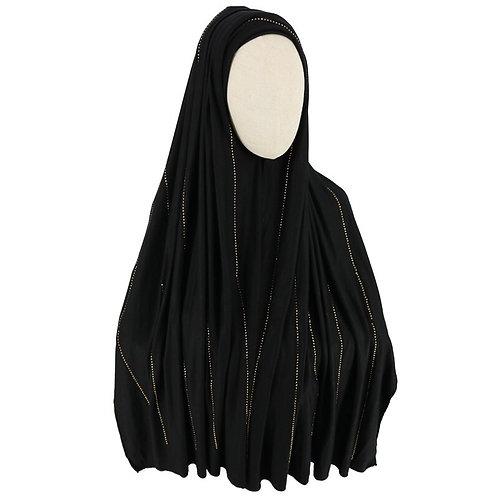 Maryam's Diamond Style Crystal Stone Jersey Stretchy  Hijab/Shawl