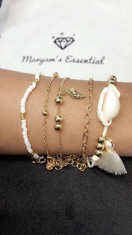 Maryam's Diamond Style Genuine Cowrie Sea Shell Chain Charm Bracelet Set