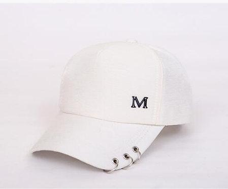 Maryam's Diamond Style Designer Metal M Ring Classic 6 Panel Ladies Baseball Cap