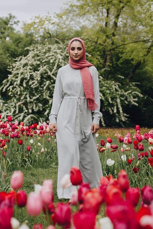 Maryam's Diamond Style Rhinestone Button Down Maxi Dress Shirt
